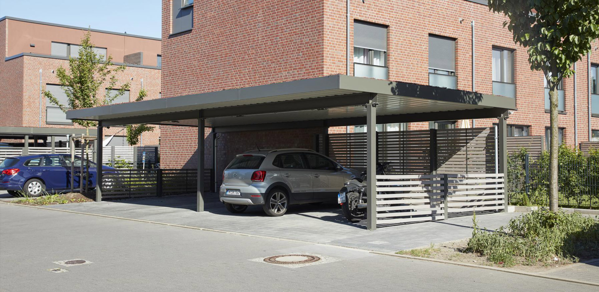 carports und einhausungen f r m llcontainer hannover projekt w systeme aus stahl. Black Bedroom Furniture Sets. Home Design Ideas